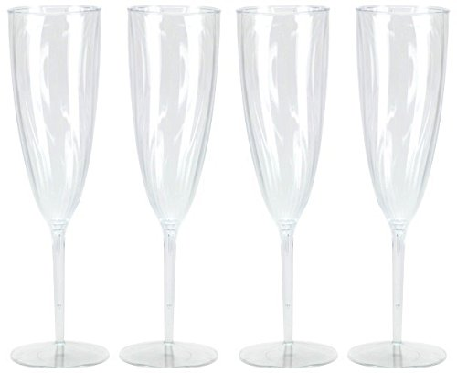 Hard Plastic 1-Piece Champagne Flute, 6-Ounce Capacity, Clear Plastic Champagne Glasses 8 Count -