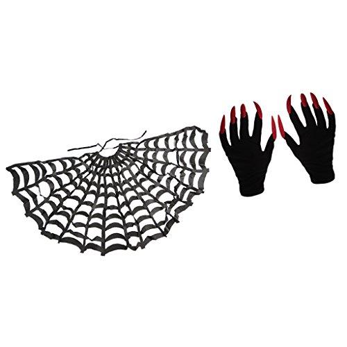 Jili Online Halloween Black Cloak Spider Web Cape+Scary Gloves Party Fancy Dress -