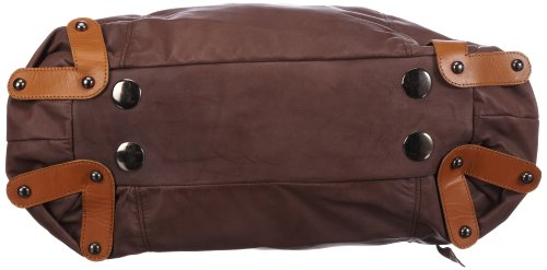 Taschendieb TD0026 - Bolsa de la compra de cuero mujer Gris (Anthrazit)