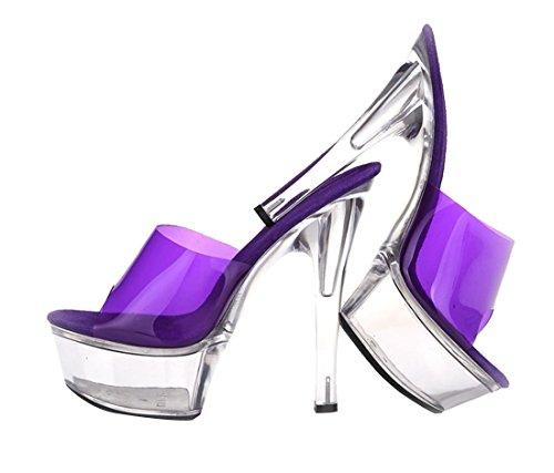 las de Crystal mujeres alto de de sandalia púrpura tacón plataforma zapatos vestido SexyPrey SY4xzz