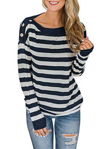 Asvivid Womens Crew Neck Long Sleeve Shirt Stripes Print Button Casual Loose Fit Fall Blouse Tops L Navy
