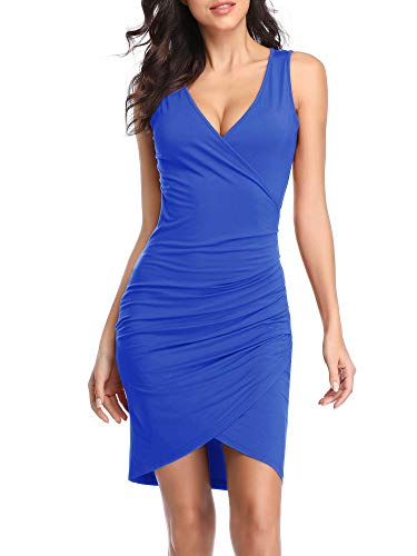 VETIOR Sleeveless Deep V Neck Dress, Bodycon Sexy Wrap Cocktail Party Mini Dresses for Women Blue