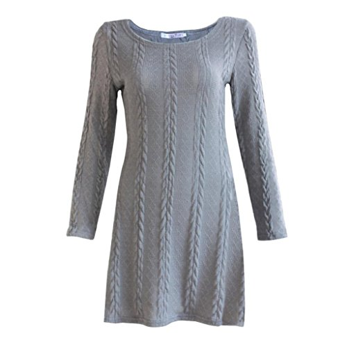 Elevin(TM)Women Long Sleeve Crewneck Jumper Slim Casual Knitted Sweater Mini Dress (XL, Gray)