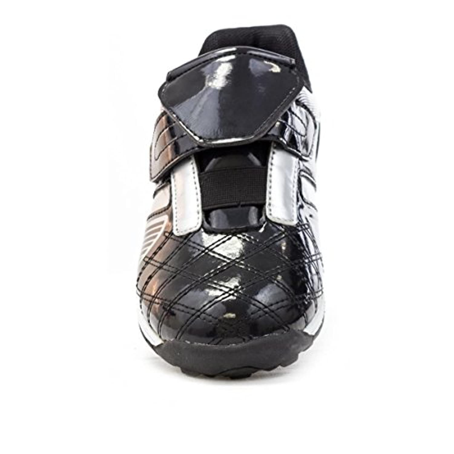 Tick - Boys Black & Silver Velcro Astroturf Trainer - Size 10 - Black