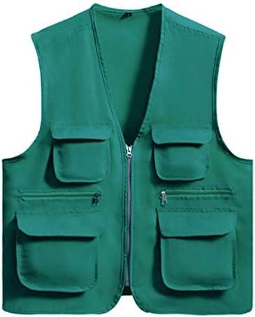メンズアウトドア春、夏と秋の薄いセクションベスト写真釣り綿マルチポケット中年男性のベストツーリングベスト (色 : Emerald color, サイズ さいず : XXL)