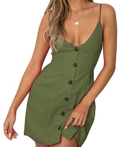 Domple Femmes Fines Bretelles V-cou Simple Glissement Cami Noeud Cravate Poitrine Mini-robe Armygreen