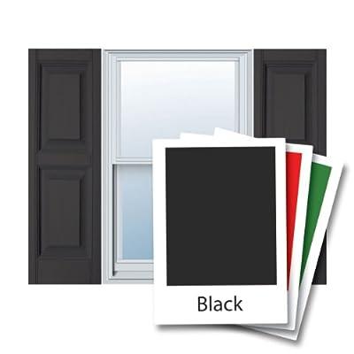 "12"" x 55"" Builders Choice Vinyl Raised Panel Window Shutters, w/Shutter Spikes & Screws (Per Pair), Black"