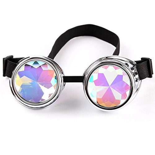 (Careonline Vintage STEAMPUNK GOGGLES&Glasses Bling Lens Rustic Goth COSPLAY PARTY Rivets)