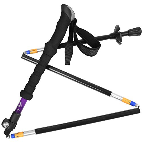 Bagail 1 PCS Bagail Folding Collapsible Trekking Poles Climbing Sticks with EVA Foam Handle, Ultralight Adjustable Alpenstocks, for Travel Hiking Climbing Backpacking Walking Purple