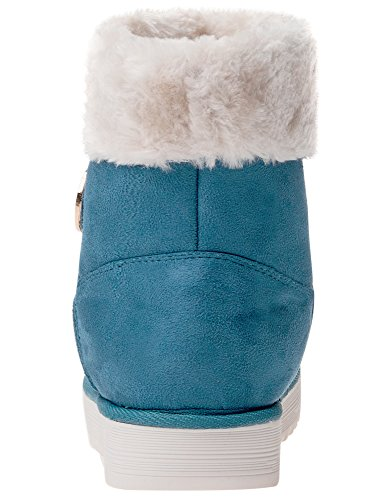 Short Boots Details Ultra Fur with Faux oodji Women's Turquoise 7300n OxEwZUU1