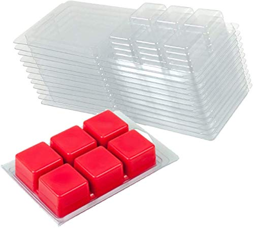YYCH Wax Melt Molds - 100 Packs Clear Empty Plastic Wax Melt Clamshells for Wickless Wax Melt Candles