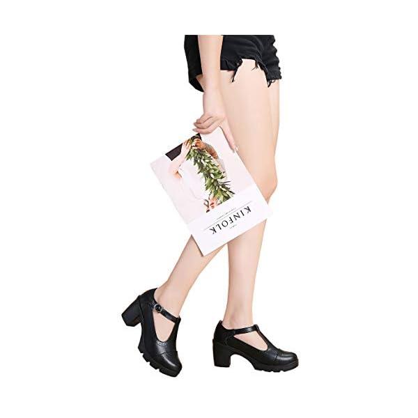 Women's Classic T-Strap Platform Mid-Heel Square Toe Oxfords Dress Shoes