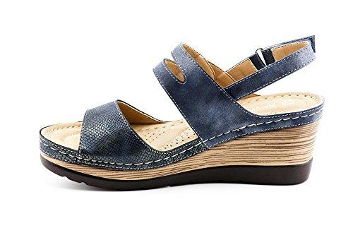 CALICO KIKI XIA-CK01 Women's Casual Peep Toe Velcro Ankle Strap Wedge Sandal Platform Shoes (8 US Navy) by CALICO KIKI (Image #3)