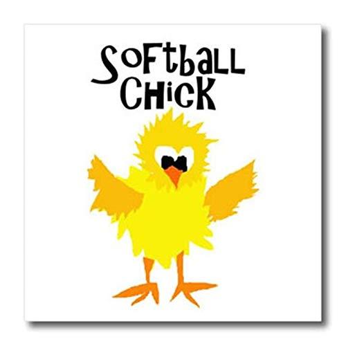 3dRose ht_255648_2 Funny Cute Chick Softball Player Iron on Heat Transfer, 6