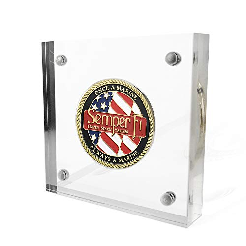 FunYan Acrylic Challenge Coin Display Holder with Magnetic Fasteners Free Standing for Coins or Medallions in 1.57