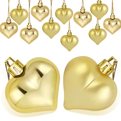Boao 24 Pieces Heart Shaped Ornaments Valentine's Day Heart Ornament for Valentine's Day Decoration, 2 Styles ()