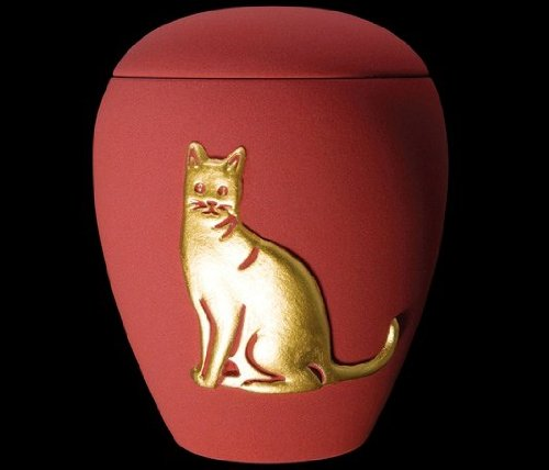 Kronos - Urne cinéraire couleur rouge en céramique à motif de chat - Dim : Cm 8, 5 x h Cm 11, 5; Vol. lt 0, 5