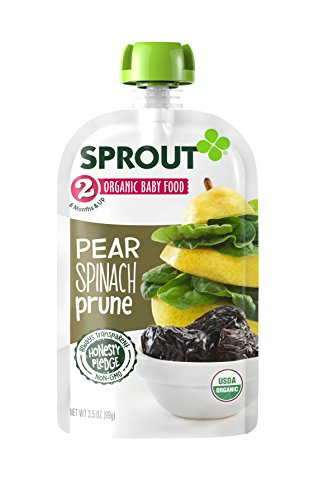 Sprout Organic Baby Food Pouches, Stage 2 Sprout Baby Food, Pear Spinach Prune, 3.5 Ounce (Pack of 6)