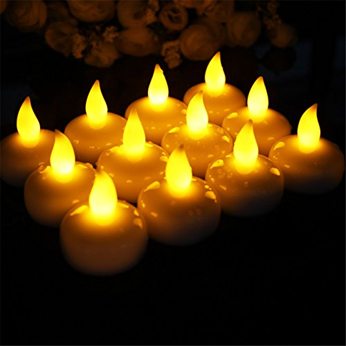 (Homyu 1819 Waterproof Floating Flameless LED Tea Light Yellow Lighting Battery Powered Romantic Set 12 Flickering Candles Votive Style - Fake Candles)