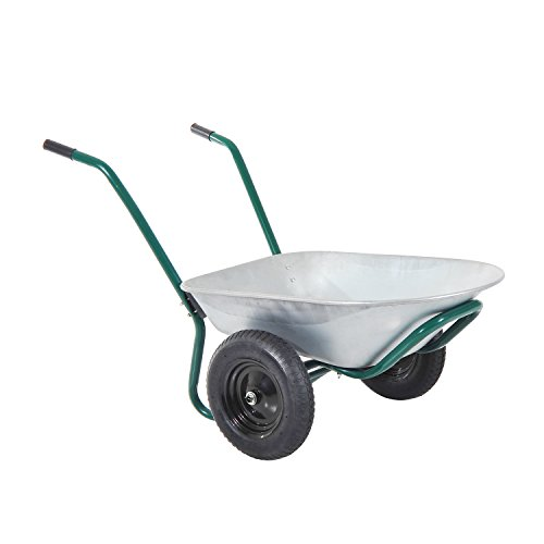 Outsunny-2-Cubic-Feet-Two-Wheel-Metal-Wheelbarrow-SilverGreen