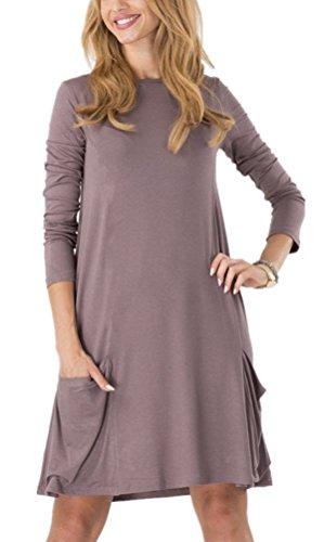 Long Sleeve Tunic Dress (Zero City Womens Casual Pockets Plain Flowy Simple Swing T-Shirt Loose Dress, A04, Small)