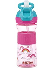 Nuby Thirsty Kids Push Button Flip-it Soft Spout on the Go Water Bottle with Easy Grip Band, Pink Rainbows, 360ml