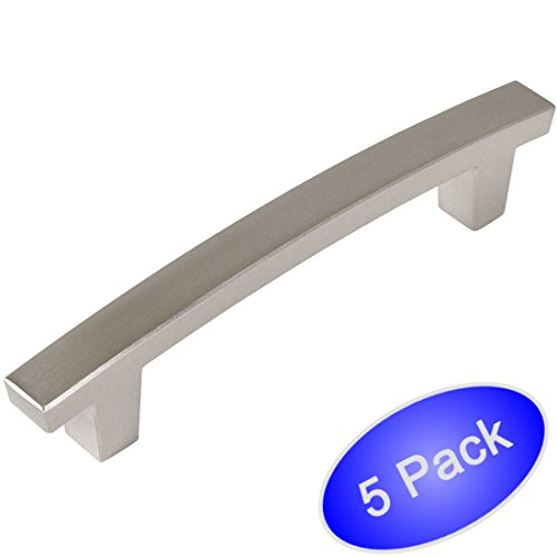 Contemporary Nickel Pulls - Cosmas 5236SN Satin Nickel Contemporary Cabinet Hardware Handle Pull - 3-1/2