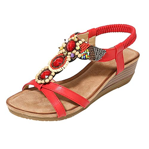 Women String Bead Casual Sandals TIANMI Ladies Wedges Elastic Band Bohemian Beach Breathable Open Peep Shoes Red