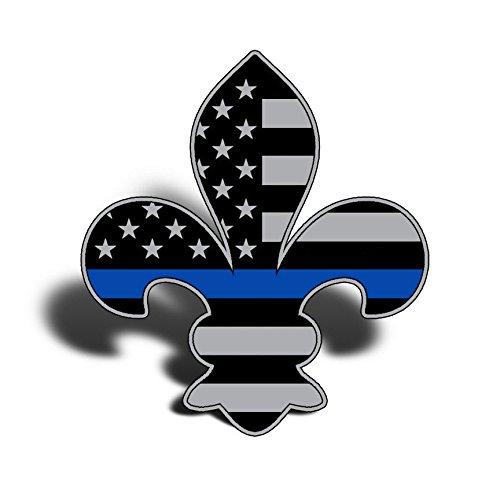 Crazy Discount Fleur De Lis Blue Line USA Flag Louisiana Police Vinyl Sticker Decal Outside Inside Using for Laptops Water Bottles Cars Trucks Bumpers Walls, 3.75