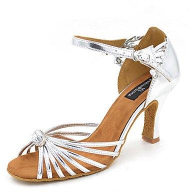 baile principiante Salsa heelpractice latina zapatos de tacón directa Misteriosa sandalias polipiel plata de la mujer Swing jazz de zapatos plata pqUwnXvTx4
