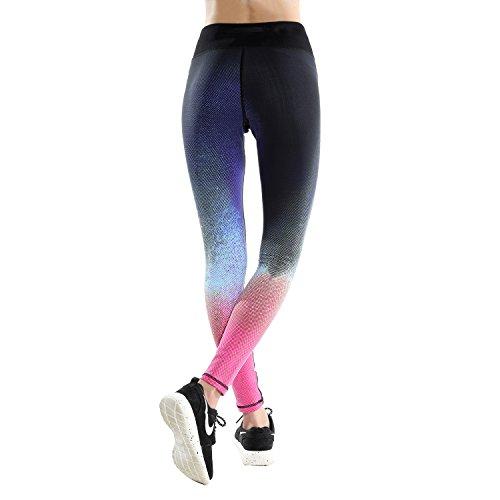 DAS Leben Pantalones Deportivos Mujer, Leggins Desportivos, Pantalones de Deporte para Correr, Gimnasio, Entrenamiento, Yoga, 2 Patrones de Ambas Partes Rosa Fluorescente