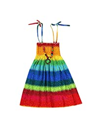 OCEAN-STORE Tank Dress Kids Girls Baby Clothes Floral Bohemian Beach Straps Sling Dress