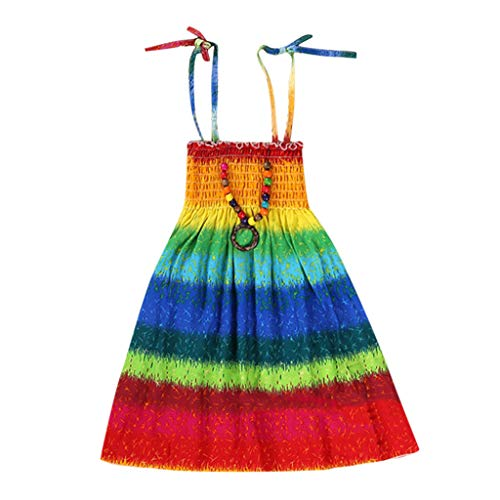 Girls Floral Tank Dresses Infant Kids Baby Clothes Vestidos Bohemian Beach Straps Dress (3-8Y)