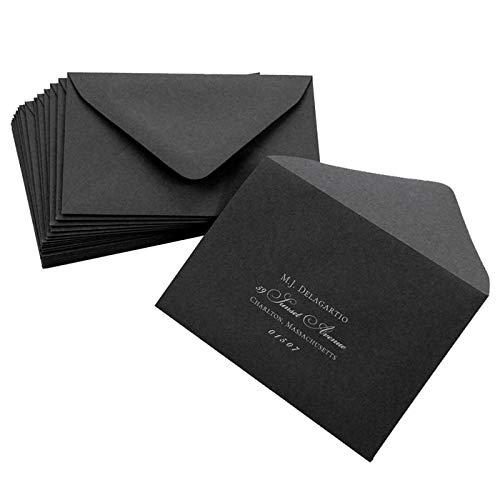 A9 Licorice Black Euro Flap Envelopes, Gmund Colors Matt 81lb, 25 pack