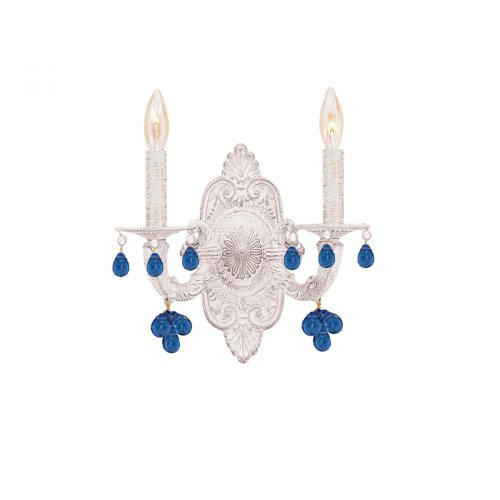 LUE Crystal Accents Two Light Wall Sconce from Hot Deal collection in Whitefinish, (Aw Blue Crystorama Lighting)