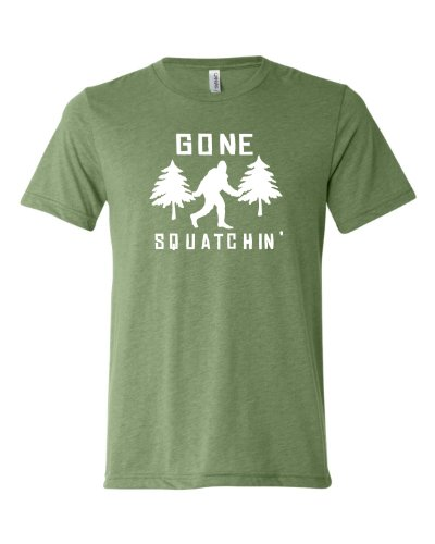 Large Green Adult Gone Squatchin Gone Squatching Bigfoot Sasquatch Triblend Short Sleeve T-Shirt