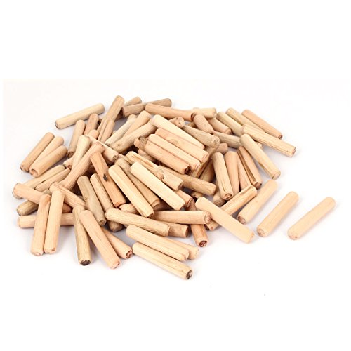 uxcell Cabinet Drawer 10mmx50mm Round Fluted Wood Wooden Craft Dowel Pin 100pcs