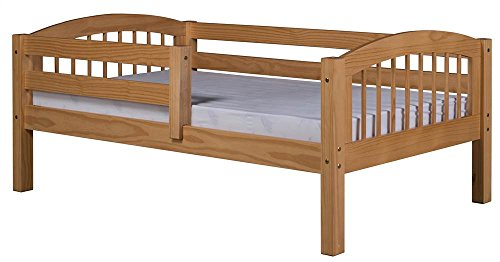Camaflexi Arch Spindle Style Solid Wood Day Bed with Front Rail Guard, Twin, Natural