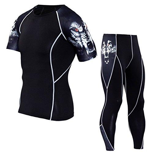 トレーニング用 吸汗速乾 コンプレッションウェア スポーツウェア 半袖シャツ 長袖 パンツ タイツ 上下セット