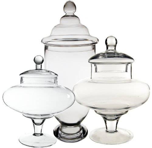 Cys Excel Candy Jar Glass Apothecary Jars Set Of 3 Candy Buffet