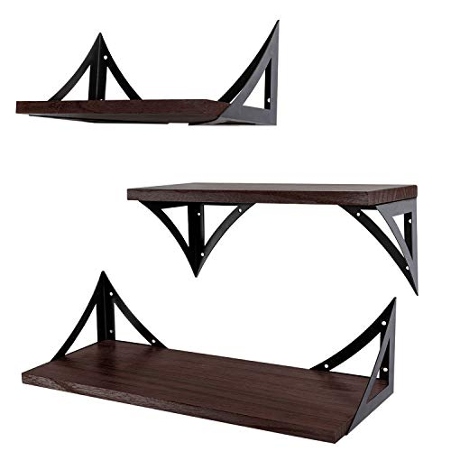 AMUR LEOPARD Floating Shelves Wall Mounted, Rustic Wood Wall Shelves Display Racks Storage Shelf Set of 3 for Bathroom…