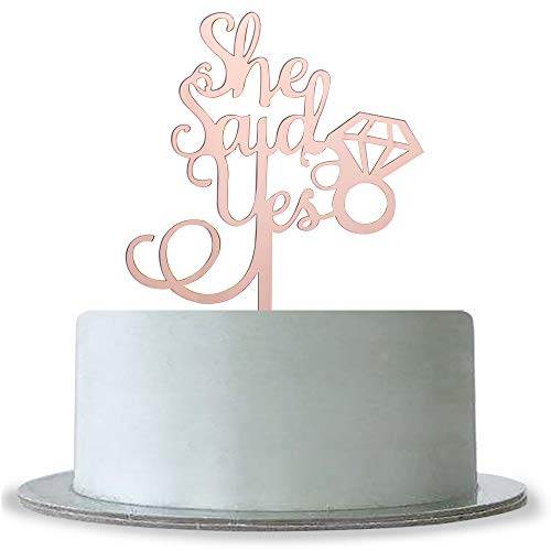 Mirror Rose Gold She Said Yes with Diamond Ring Cake Topper, Bridal Shower,Hen Night,Wedding Bachelorette Engagement Party Decoration Supplies Mirror -