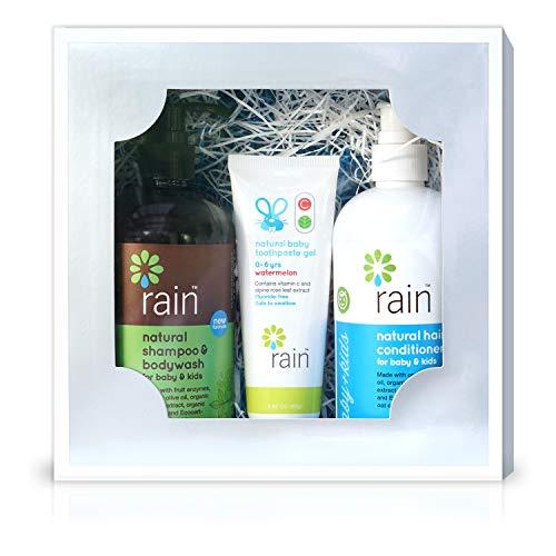 Baby Bath Hygiene Gift Basket Set - Natural Organic Shampoo Body Wash Soap, Conditioner & Fluoride-Free Vitamin C Toothpaste for Mom Infant Baby Shower Registry Plant-Based, Hypoallergenic (Bath Set) - Set Gift Basket Baby