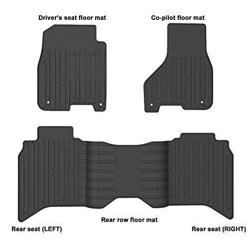 WINUNITE Front & Rear Black Slush Floor Mats for 2013-2017 Dodge Ram 1500 Crew Cab All Weather Guard TPE Floor Carpet Liner Set for Dodge Ram 1500 2500 3500 4500 5500 Crew Cabs Floor Liner Set