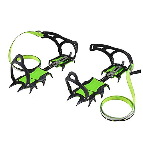 Outdoor 14 Teeth Bundle Adjustable Climbing Claw Crampons Traction Device Snow Skid Shoe Cover Manganese Steel Mountaineering Mandatory Two Shoes One Size