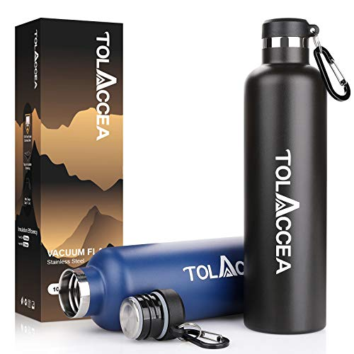 Tolaccea Stainless Steel Water Bottle 1 Litre 33 oz BPA Free Double Walled Vacuum Insulated Thermos Mug Leak Proof No Sweating Durable Vacuum Flask For Cycling Gym and Outdoors Black
