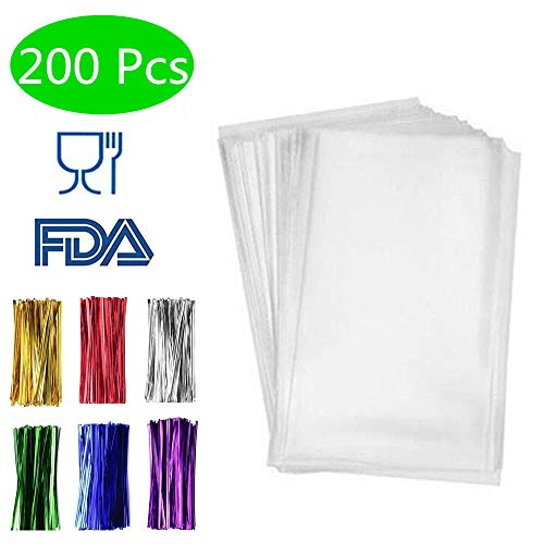 200 Pack Clear Treat Bags Clear Bakery Bags with 4