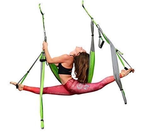 Aerial Yoga Swing - Gym Strength Antigravity Yoga Hammock - Inversion Trapeze Sling Equipment with Two Extender Hanging Straps - Blue Pink Grey Swings & Beginner Instructions (Green and Platinum) by Yogatail (Image #2)