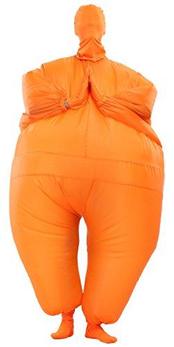 Goodsaleok Funny Fat Inflatable Full Body Costume Suit Blow Up Halloween Costume, Orange