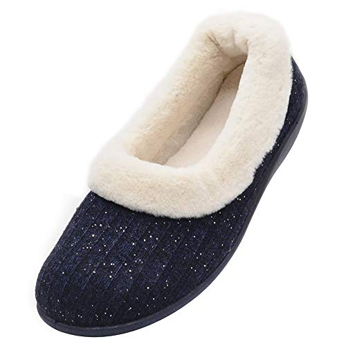 Wishcotton Women's Knitted Cotton Memory Foam Slippers Fuzzy Collar Fleece Lined Outdoor Indoor House Shoes (8 B(M) US, -